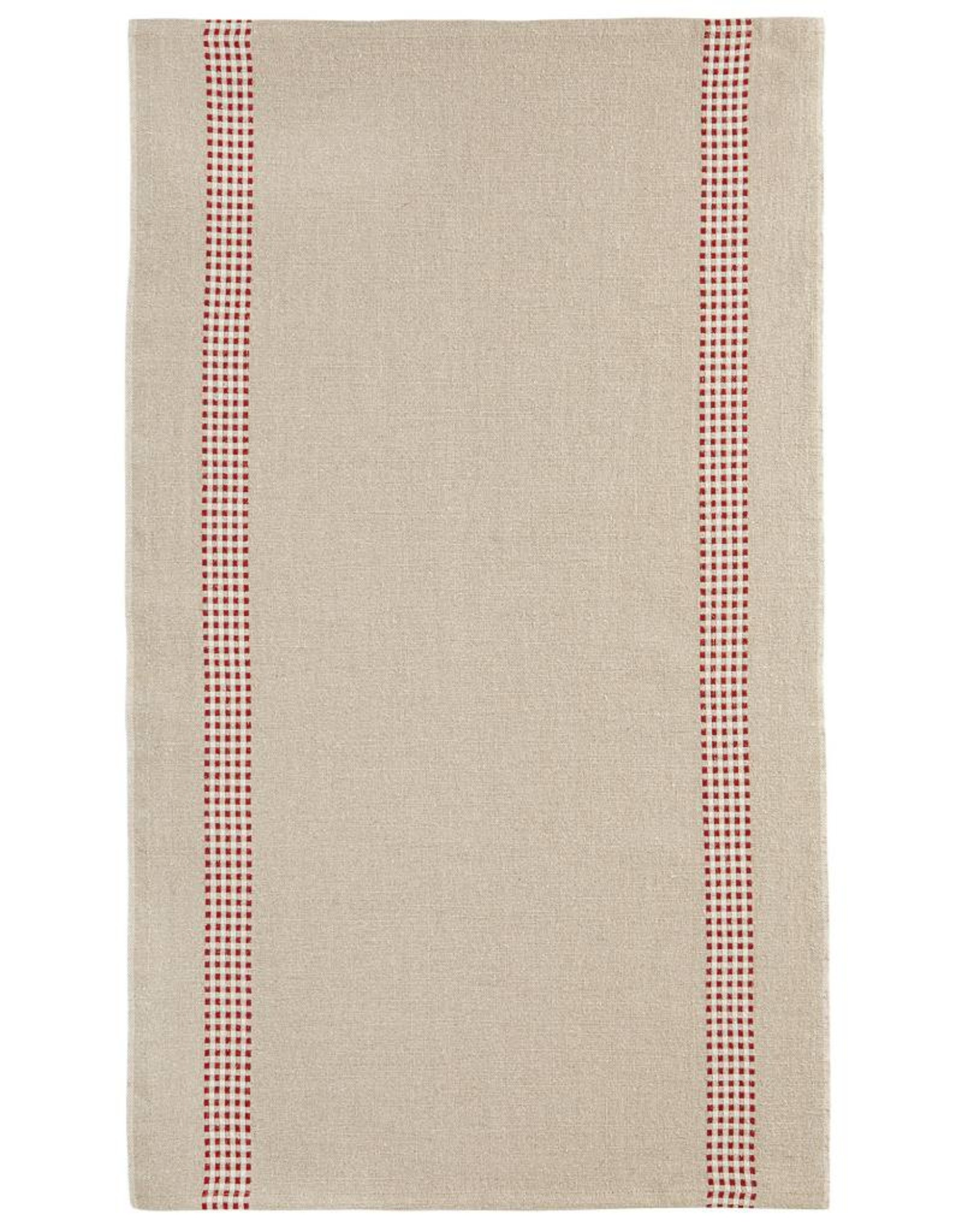 "Charvet Editions - Bistro/Tea Towel Natural & Red Vichy (Lustucru) - 18""x30"""