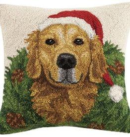 """Pillow - Golden Retriever w/Wreath - 16"""" x 16"""""""