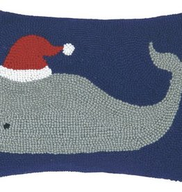 """Pillow - Christmas Whale - 18"""" Oblong"""