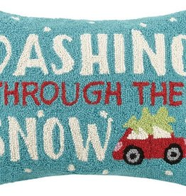 "Pillow - Dashing through the snow - 18"" Oblong"