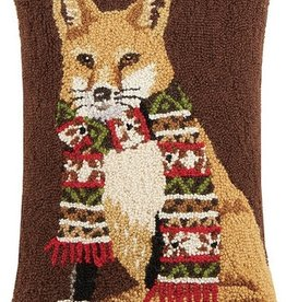 """Pillow - Fox with Scarf - 22"""" Oblong"""