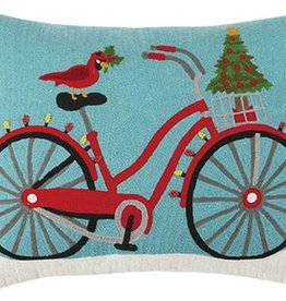 "Pillow - Christmas Bike Crewel  - 18"" Oblong"