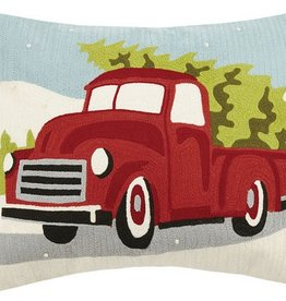 "Pillow - Red Truck w/Tree (Crewel) - 20"" Oblong"