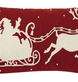 "Pillow - Santa/Sleigh w/bells (Crewel) - 22"" Oblong"