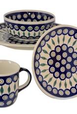 Polish Pottery Bowl - Peacock Pattern