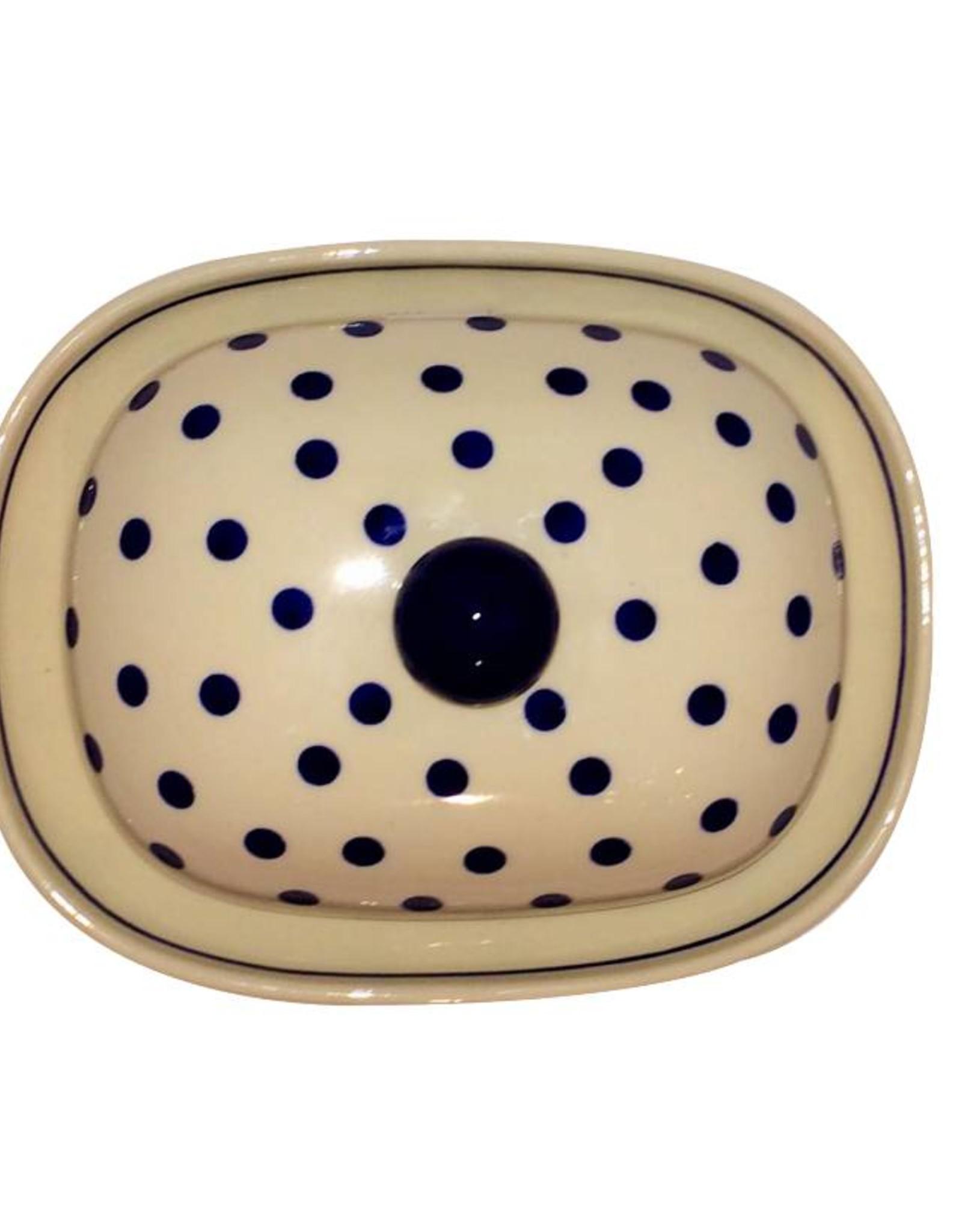 Butter Dish - Blue/White Dots - Double Stick