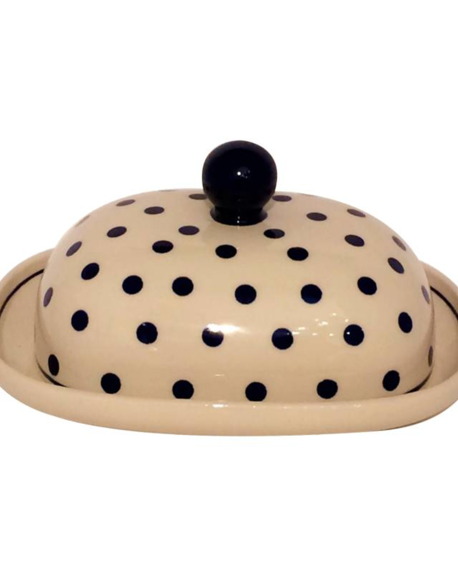 Butter Dish - Blue/White Dots