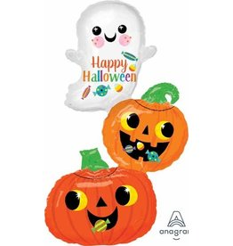 "Ghost Pumpkin Stack 37"" Mylar Balloon"