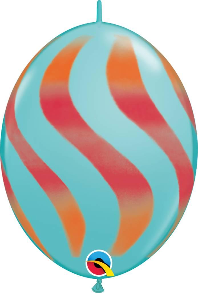 "12"" Caribbean Blue Wavy Quicklinks Balloons 1 Dozen Flat"