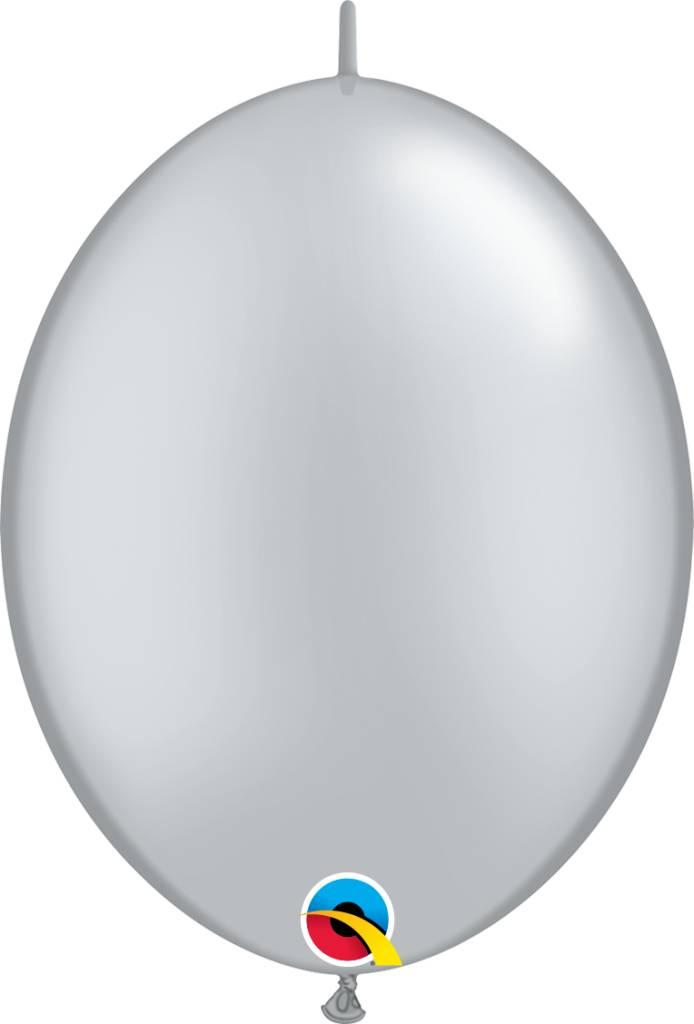 "12"" Silver Quick Link Balloons 1 Dozen Flat"