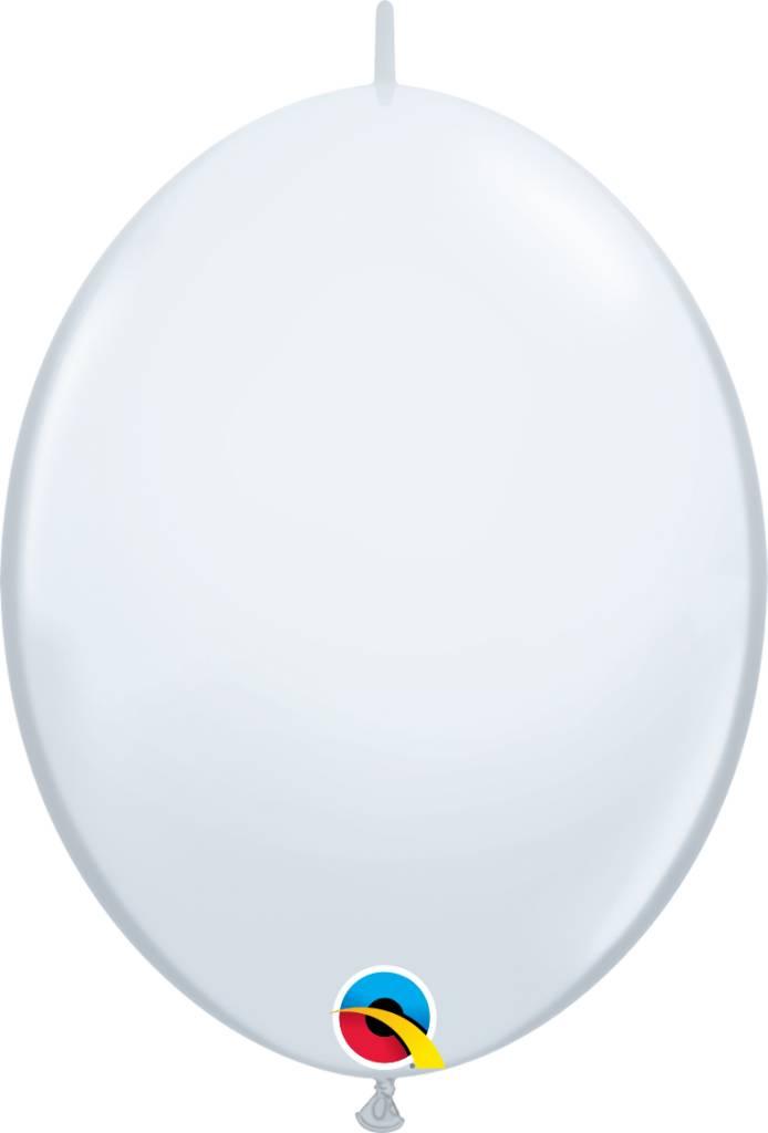 "12"" White Quick Link Balloons 1 Dozen Flat"