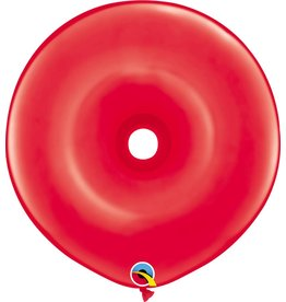 "16"" Geo Donut Ruby Red Balloon Flat"
