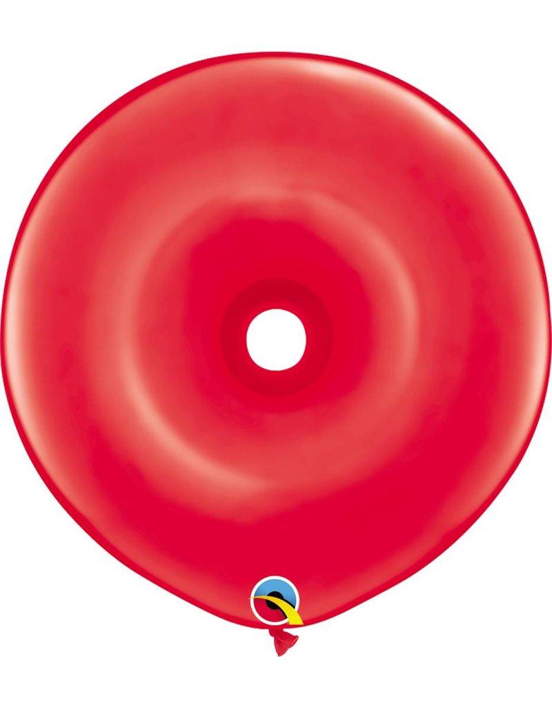 "16"" Geo Donut Ruby Red Balloon Flat"