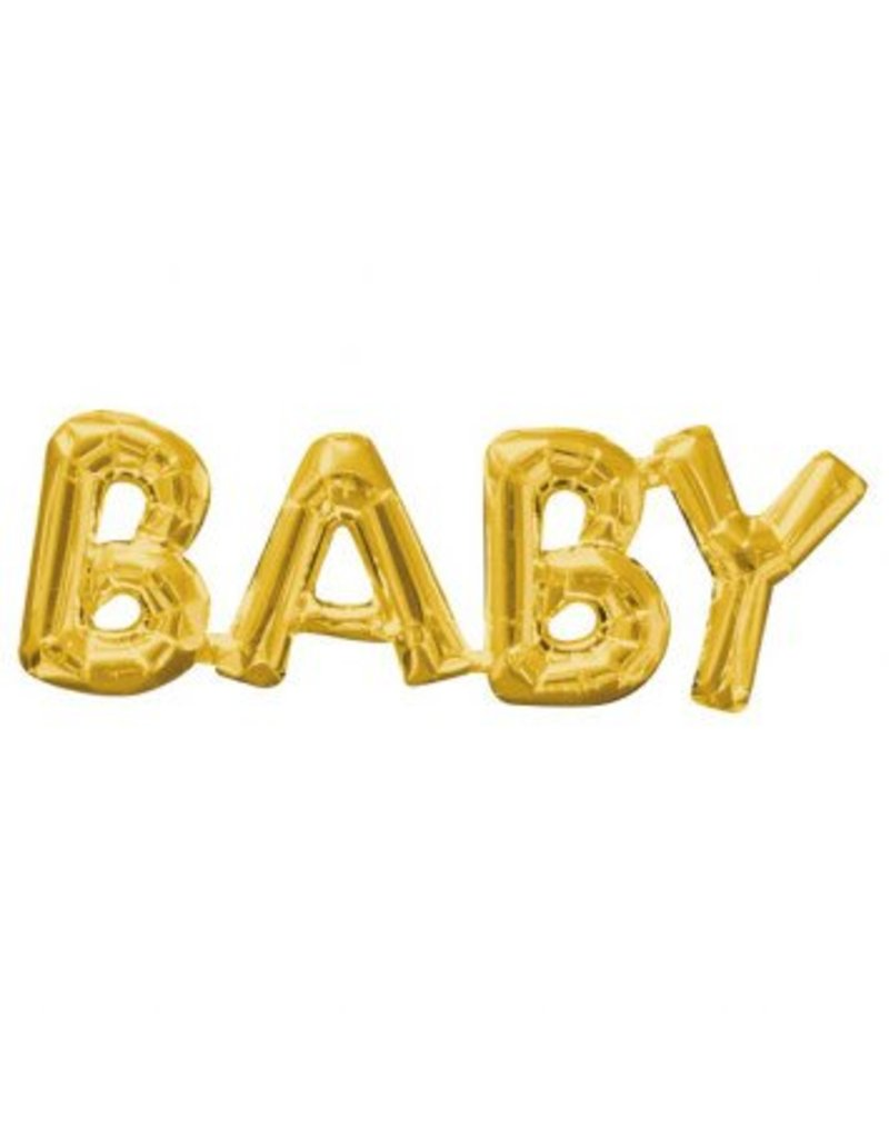 Gold BABY Letters Air Filled Banner Balloon (Will Not Float)