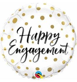 "Happy Engagement Gold Dots 18"" Mylar Balloon"
