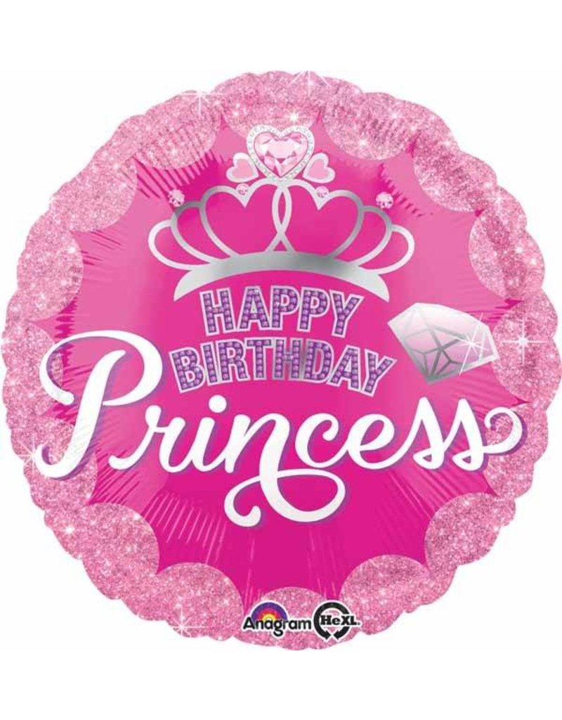 "Birthday Princess Crown & Gem 18"" Mylar Balloon"