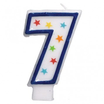 #7 Birthday Star Flat Molded Candle
