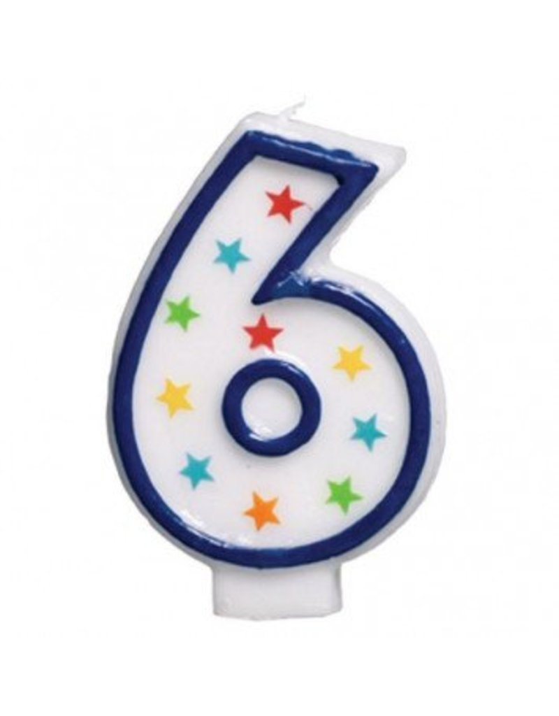 #6 Birthday Star Flat Molded Candle