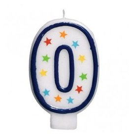 #0 Birthday Star Flat Molded Candle