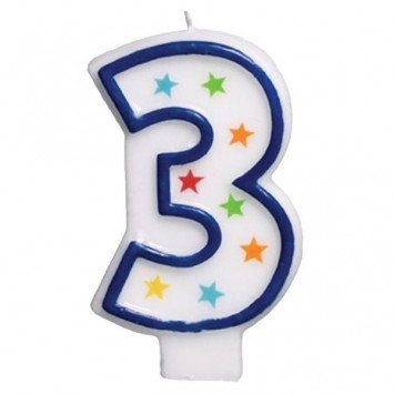 #3 Birthday Star Flat Molded Candle