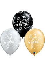 """11"""" New Years Swirling Stars Balloon 1 Dozen Flat"""