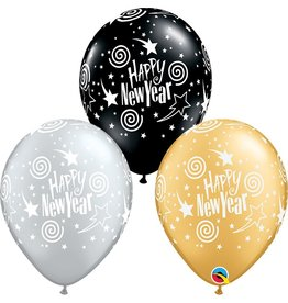 "11"" New Years Swirling Stars Balloon 1 Dozen Flat"