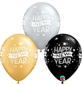 "11"" New Years Confetti Dots 1 Dozen Flat"