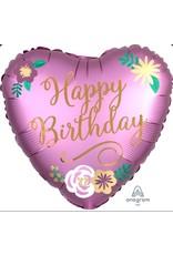 "Birthday Satin Flowers 18"" Mylar Balloon"