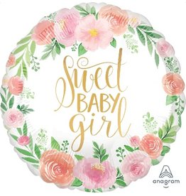 "Floral Sweet Baby Girl 18"" Mylar Balloon"