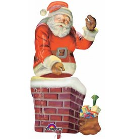 "Santa & Chimney Multi Shape 53"" Mylar Balloon"