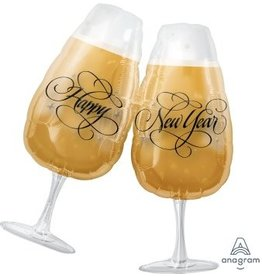 "New Year's Toasting Glass 30"" Mylar Balloon"