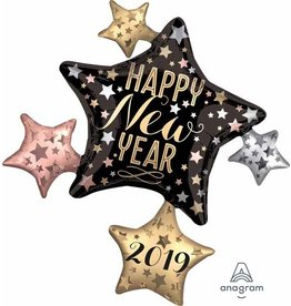 "2019 Satin New Year's Cluster 35"" Mylar Balloon"