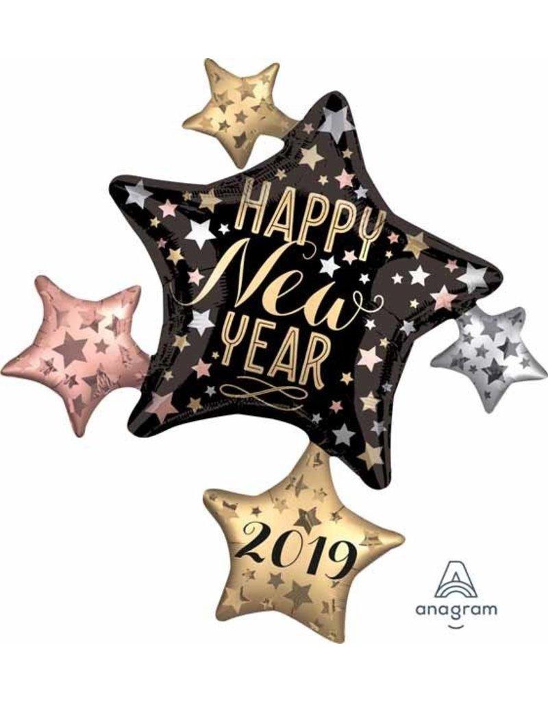 "2019 Satin New Year's Cluster 35"" Mylar Balloon"