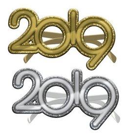 2019 New Year's Glitter Glasses - Gold