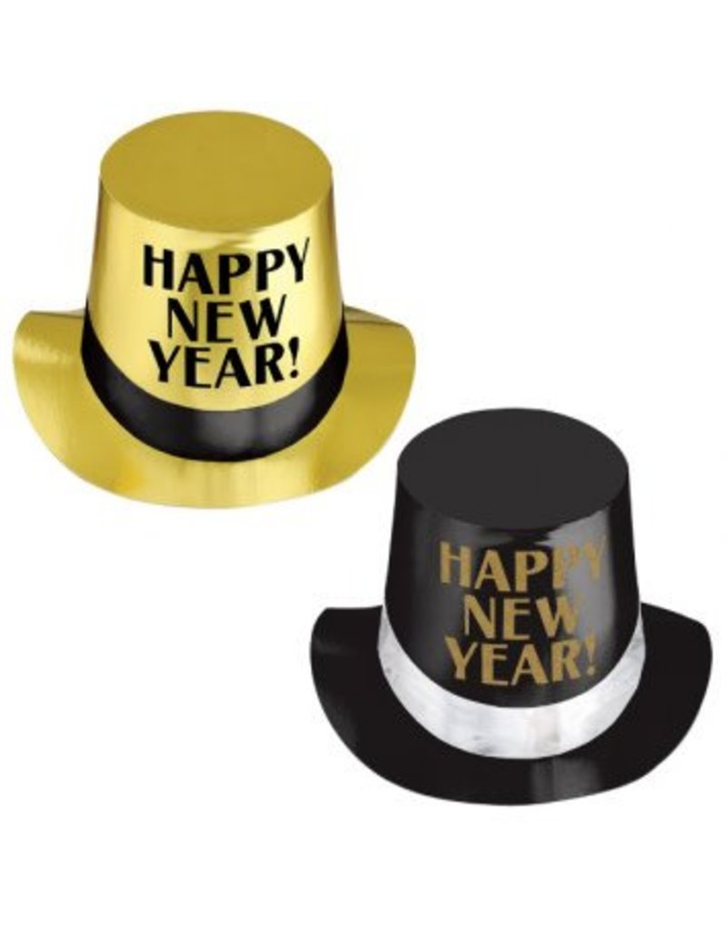 Happy New Year Top Hat Asst. - Gold