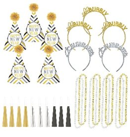 New Years Glitz and Glam Kit For 10 Black/Gold/Silver