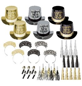 New Years Get The Party Started Kit For 25 People Black/Gold/Silver