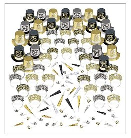 New Years Elegant Celebration Kit For 50 People Black/Gold/Silver