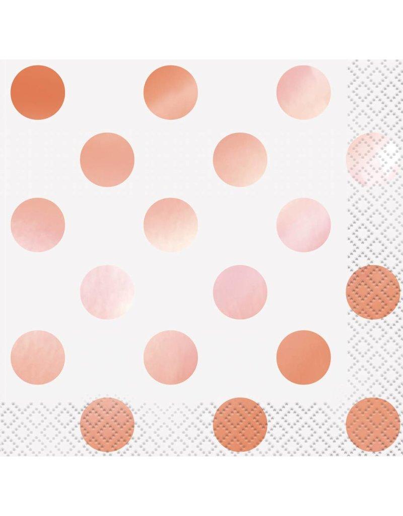 Rose Gold Dot Beverage Napkins