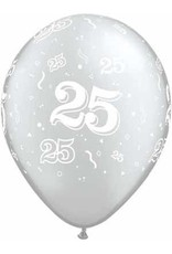 """11"""" #25 Around Silver Balloons Uninflated"""