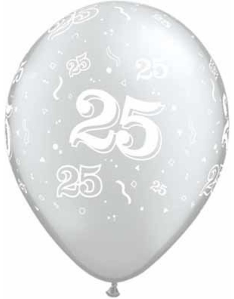 """11"""" #25 Around Silver Balloons (Without Helium)"""