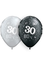 "11"" #30 Around Silver & Black Balloons  (Without Helium)"