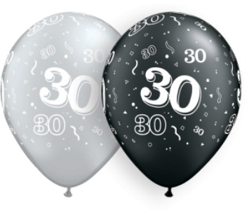 """11"""" #30 Around Silver & Black Balloons  Uninflated"""
