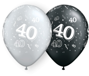 """11"""" #40 Around Black & Silver Balloons Uninflated"""