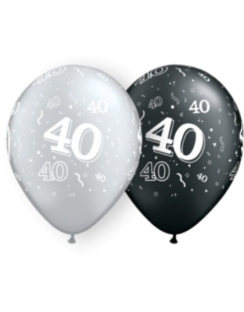 "11"" #40 Around Black & Silver Balloons (Without Helium)"