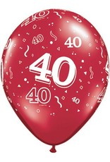 "11"" #40 Around Ruby Red Balloons Uninflated"