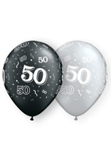 "11"" #50 Around Black & Silver Balloons Uninflated"