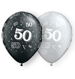 "11"" #50 Around Black & Silver Balloons (Without Helium)"