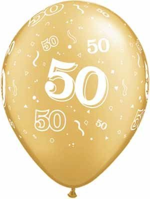 """11"""" #50 Around Gold Balloons Uninflated"""