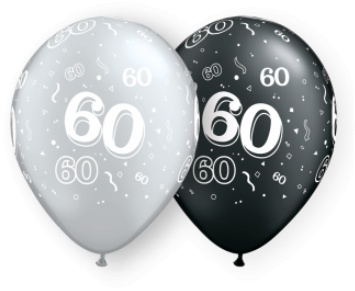 """11"""" #60 Around Black & Silver Balloons (Without Helium)"""